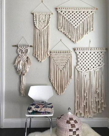 tapiz en macrame paso a paso diferentes ornamentos