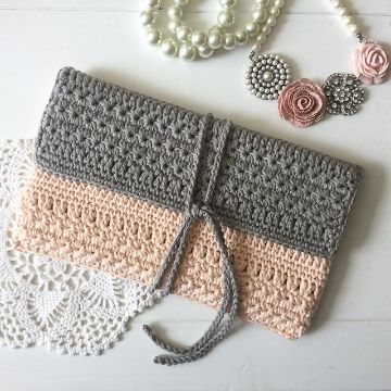 billeteras de mujer tejidas a crochet listones