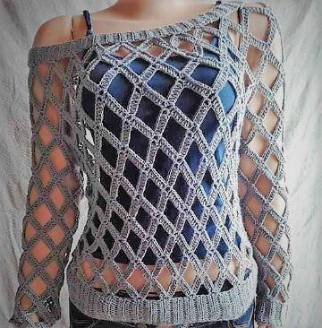 blusas caladas a crochet tipo sueter