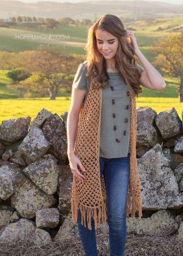 camperas tejidas para mujer sin mangas y flecos