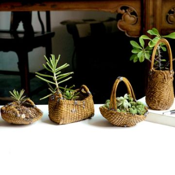 cestas de mimbre decoradas para macetas pequeñas