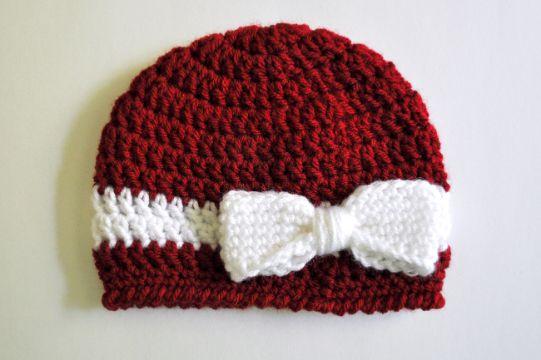 gorritas para bebe a crochet con moño