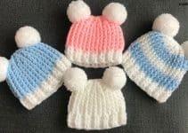Bonitos gorritos de bebe a crochet con ganchillo de 5mm