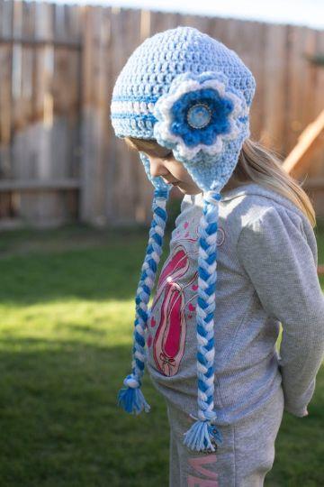 gorros tejidos a crochet para niñas con flores