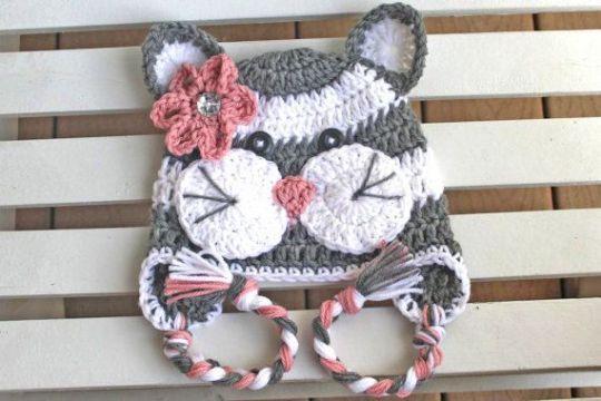 gorros tejidos a crochet para niñas de animales