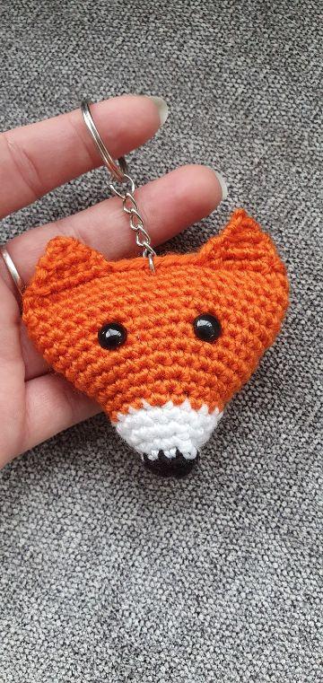 llaveros a crochet de animales zorro