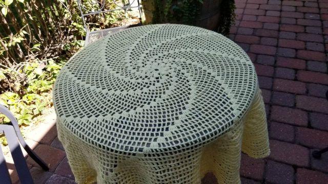 manteles de mesa a crochet con efecto visual