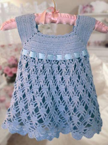 vestidos tejidos para niñas punto calado