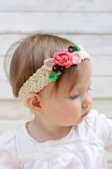 vinchas en crochet paso a paso con flores para niña