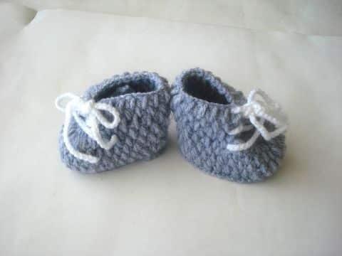zapatos tejidos para niñas sencllas con listones de hilo