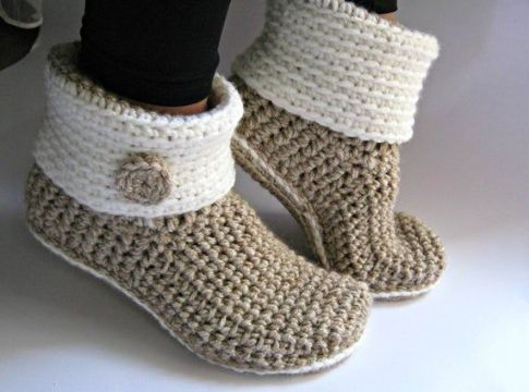 botas tejidas para dama con suela cortas