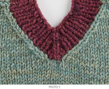 cuellos tejidos a palitos con puntos de bordes