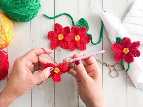 flores de navidad a crochet faciles