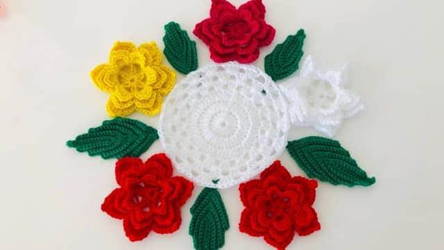 flores de navidad a crochet para formar ornamentos