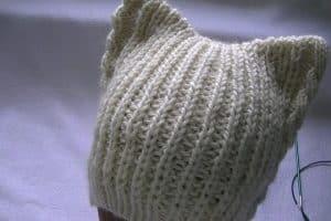 Diseños en gorros de gato tejidos con sus 2 orejas