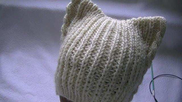 gorros de gato tejidos con bordes originales