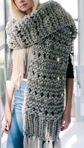 tejer bufanda en dos agujas modernas