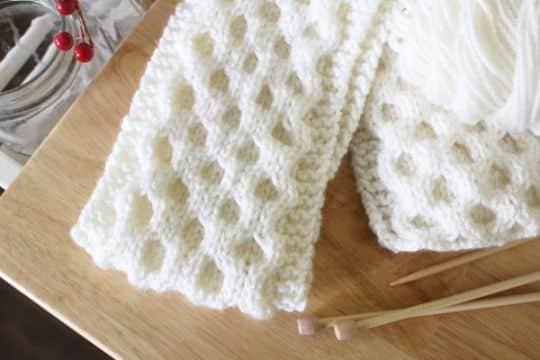 tejer bufanda en dos agujas puntada panal