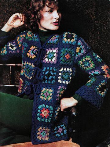 casacas tejidas a crochet a cuadros granny