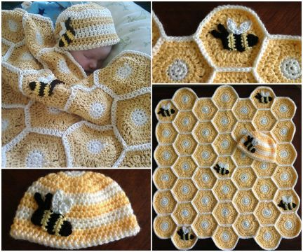 cobijas para bebe tejidas en crochet panal de abejas