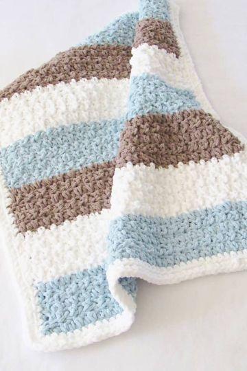 cobijas para bebe tejidas en crochet sencillas a tres tonos