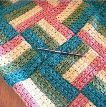 como hacer manta de lana a cuadros efecto visual