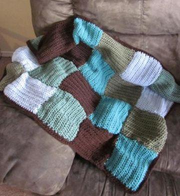 como hacer manta de lana a cuadros pequeña