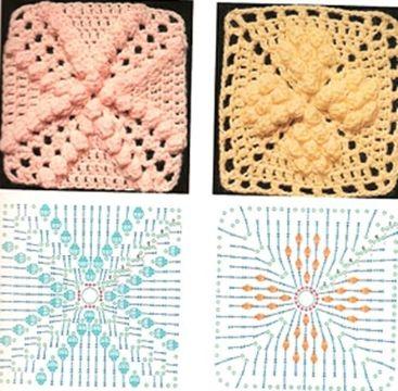 cuadros tejidos a crochet para mantel con patrones en relieve