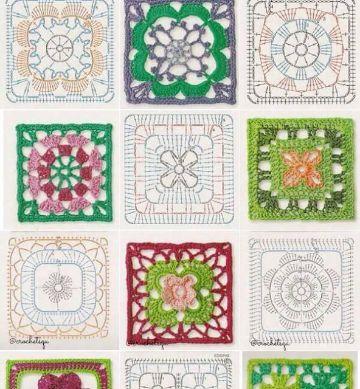 cuadros tejidos a crochet para mantel diferentes estilos