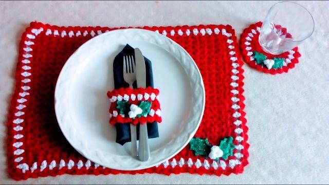 individuales navideños a crochet para decorar