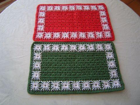 individuales navideños a crochet rectangulares