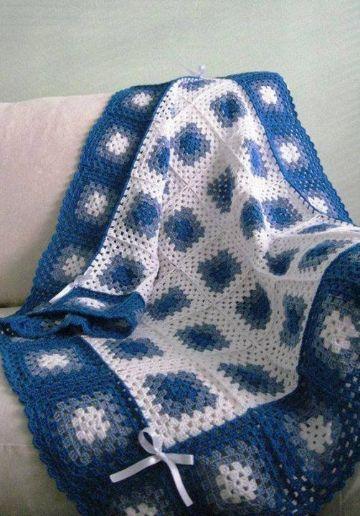mantas de lana tejidas a crochet punto granny