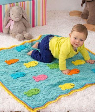 mantas para bebes a crochet con figuras en relieve
