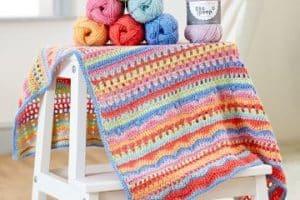 Coloridas mantas para bebes a crochet de 70 x 90cm