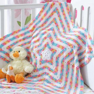 mantas para bebes a crochet estrellas