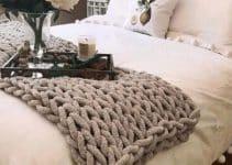 4 diseños de mantas tejidas a mano con lana gruesa