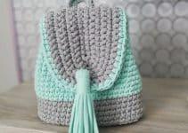 Juveniles mochilas hechas a ganchillo con 2 tipos de hilo