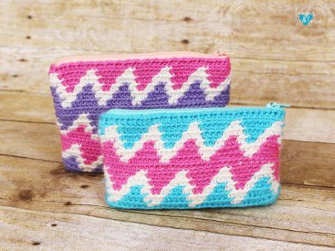 monederos tejidos a crochet rectangular con cremalleras