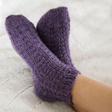 calcetines a dos agujas patrones cortos
