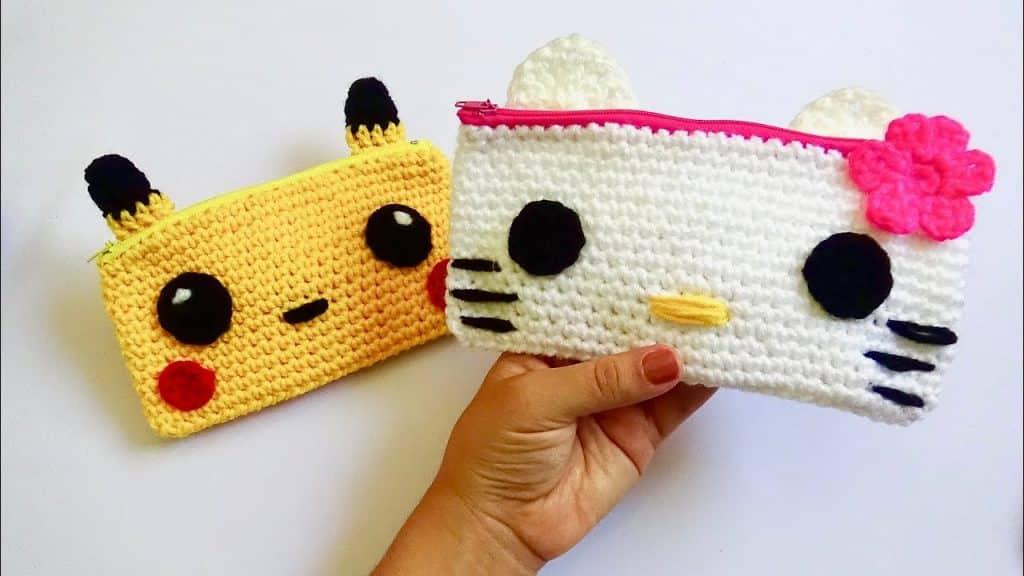 cartucheras a crochet de animales