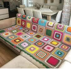 mantas tejidas al crochet para sillones coloridas