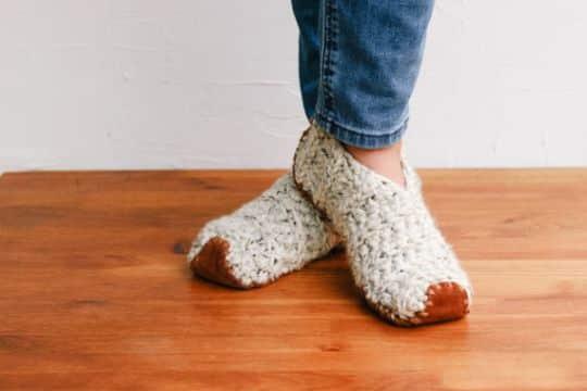 pantuflas a crochet faciles como calcetin