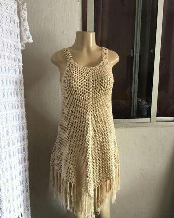 salidas de baño tejidas a crochet con flecos