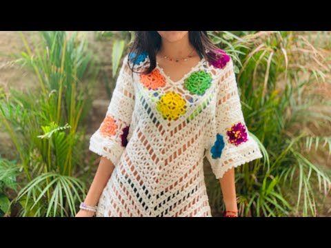 salidas de baño tejidas a crochet con flores de colores