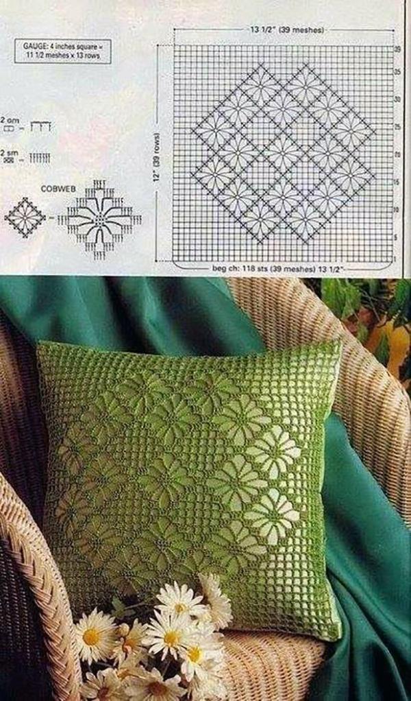 Cojin tejido crochet Cuadrado VERDE