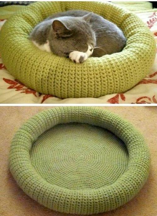 camas para gatos a crochet a color 1