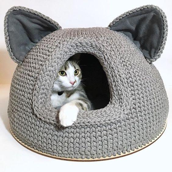 camas para gatos a crochet facil
