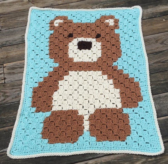 colchas para bebe a crochet oso