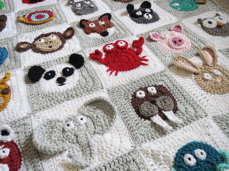 colcha para bebe a crochet animalitos