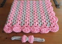 Mantas para bebe a crochet en 2 colores
